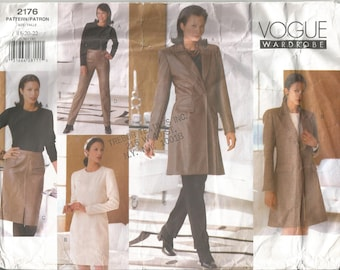 Vogue Wardrobe Sewing Pattern 2176, Jacket, Dress, Top, Skirt, Pants, Size 18-22, Uncut Factory Folded