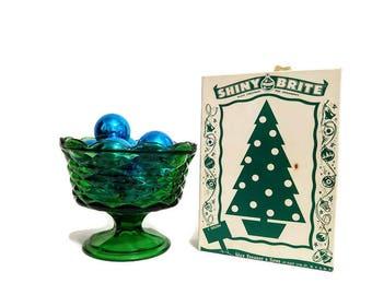Shiny Brite Christmas Ornaments In Box Blue