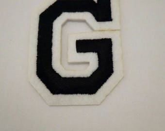 G black and white iron on patch