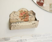 Reserved for Trish Antique Comb Case - Chippy Paint Wall Pocket - Antique Bathroom Decor