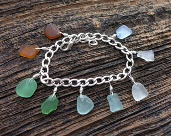 Sea Glass Charm Bracelet Brown to Blue