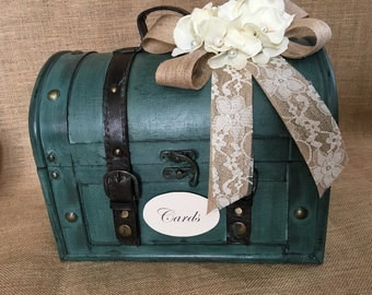 Pick Your Flowers & Ribbon - Rustic Aqua Wedding Trunk, Wedding Card Holder, Card Box, Money Box, Wedding Suitcase, Rustic Wedding Box