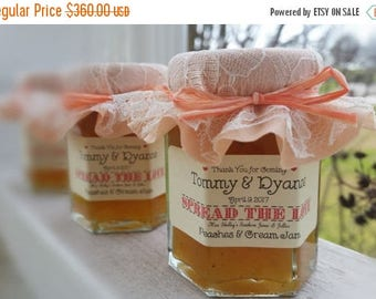 Christmas in July - Sale Georgia Peach Jam Favors - Rustic Wedding Favors - Wedding Favors - 100 (2oz) Jam Jar Favors - Burlap & Lace Favors