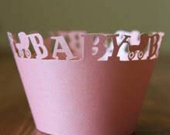 50x Pink Baby Carriage Cupcake Wrapper for Baby Girl Cake Tree Decoration | Reception Centerpiece | It's A Girl Baby Shower Cake Decoration