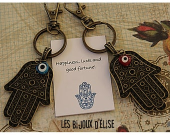 Big Hand of Fatima/Hamsa Keychain with a Little HeartPurse Keychain Antique Bronze (KC28)