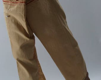 FZ0091 Hand stitch Unisex Thai fisherman pants, stitch Inseam design for Thai Fisherman Pants Wide Leg pants, Wrap pants