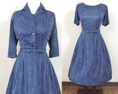1950s Vintage Dress / Matching cropped Jacket / Blue / Herringbone Print