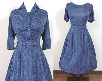 1950s Vintage Dress / Matching cropped Jacket / Blue / Herringbone Print