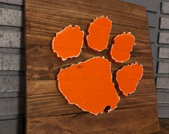 """14"""" x 14"""" 3-D Clemson Tiger Paw (Orange on Stained)"""