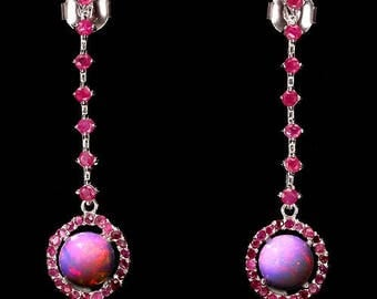 2.82ctw Ruby and Fire Opal Sterling Silver Earring