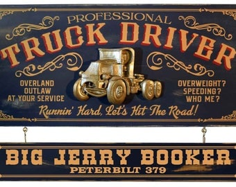 Custom TRUCK DRIVER Wood Bar Sign Personalized with choice of Name & Text on attached Nameplate for ManCave Pub, Home or Business wall decor