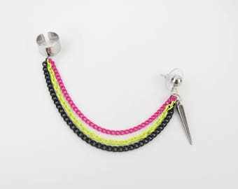 Neon Yellow/Pink and Black Chained Ear Cuff, Fashion Earrings, Trendy Fashion, Edgy Trends