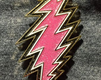 """1.5"""" - 13 Point Bolt Pin -Pink, White, Black- GLITTER Grateful Dead Steal Your Face"""
