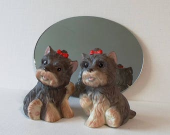 Vintage Homco Pair of Playful Scottie Dogs Figurines Shabby Chic Shelf Sitter