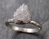 Rough Diamond Engagement Ring Raw 14k White Gold Ring Wedding Diamond Solitaire Rough Diamond Ring byAngeline 1110