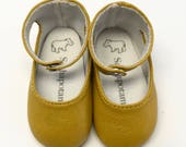 """Goldenrod leather ankle-strap shoes for 16"""" Sasha and a Girl for All Time dolls"""