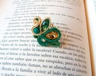 Green vintage ring, 80s ring, big soutache ring, rockabilly ring, adjustable ring, boho ring, statement ring, flamenco ring, bohemian ring