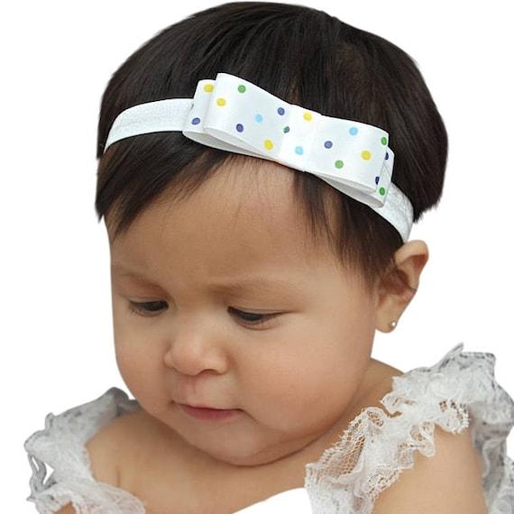 White headband, baby bow headband, Baby Bows, big baby bow headband, baby bow headband nylon, baby bow headband