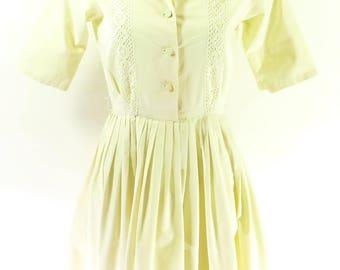 Vintage 40s Dress Womens S Cotton Lace Kent Pleated [H62O_0-14]