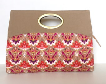 Anabel Oversized Clutch:  Beige with Orange and Violet abstract floral print - Sample