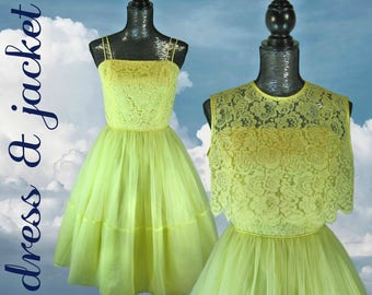 """Yellow Dress 1960s Dress and Jacket SMALL bust 34"""" Fit and Flare Dress Spaghetti Straps Lace Dress Lace Jacket Garden Party Dress"""