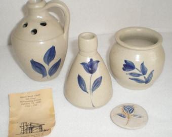 WILLIAMSBURG Cobalt Blue Salt Glaze Pottery Pitcher Crock Vase 3 Pc Hand Carved