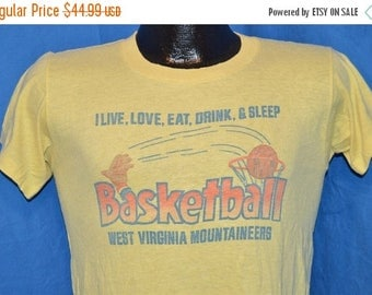 ON SALE 80s West Virginia WVU Mountaineers College Basketball Yellow Vintage t-shirt Small