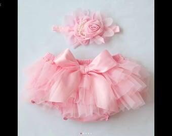 Baby Girl Pink Tutu Diaper cover and Flowered elastic headband