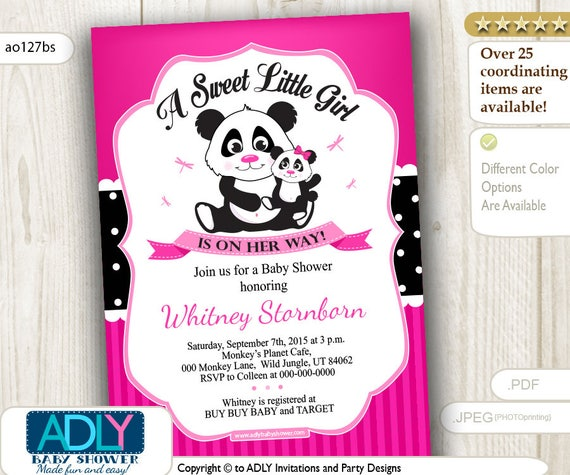 Hot pink girl panda baby shower invitation in polka pink and black il570xn filmwisefo