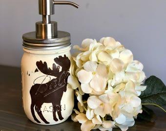 Moose Mason Jar Soap Dispenser