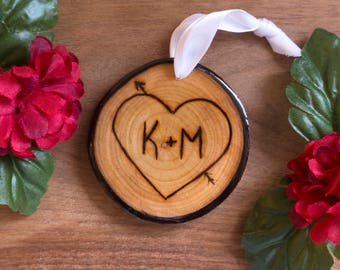 Personalized Couples 1st Christmas Ornament, Our First Christmas, Wood Burned Ornament, Custom Initials, Wood Slice Ornament, Mr. and Mrs.