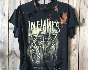 INFLAMES, medium, death metal,bleached, distressed,bleached t, distressed t, thrash metal, Metalcore, nu metal, heavy metal rock shirt