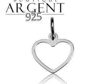 Love heart shaped charm 15.6 X 12.2 mm 925 sterling silver