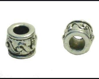 Pewter Beads 2 Pieces Metal Loose Beads Hole Diameter 5mm US Seller