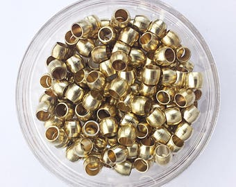 50 Small Brass Beads 5mm long with 3mm hole