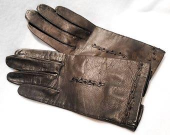 Vintage Black Embroidered Kidskin French Gloves, Size 6 1/2, c. 1960