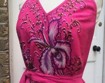 Super Groovy printed Summer wrap around maxi 1970s cotton Festival dress