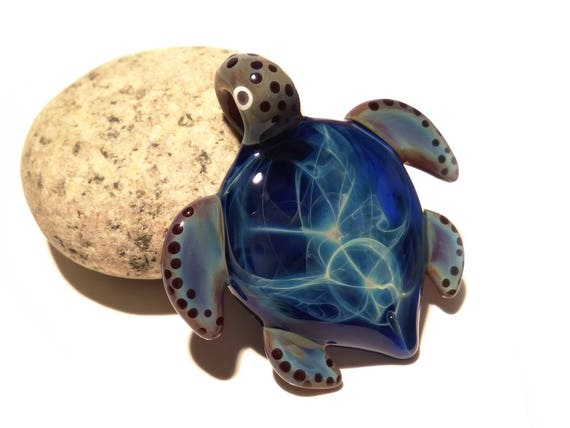Blue Spirit Turtle Pendant - Glass Pendant - Glass Jewelry - Glass Art - Turtle - Blown Glass - Artist Signed - Details of Pure Silver