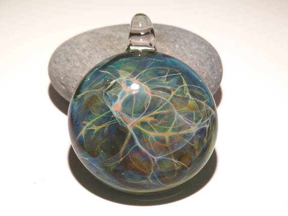 Green Web Pendant - Neuron Universe Filament Pattern - Hand Blown Glass Pendant - Glass Jewelry - Made with Pure Silver - Free Shipping!