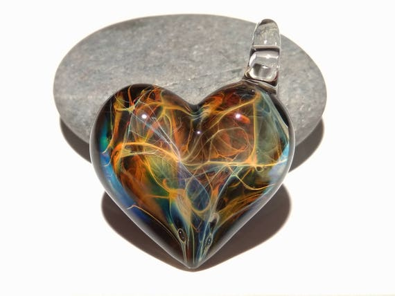 Heart Love - Exotic Jungle Heart Pendant - Glass Jewelry - Heady Glass Art - Heart Pendant - Blown Glass - Heart Charm - Unique Bead