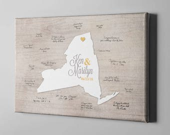 SALE 40% Off Canvas Guest Book, Usa State Map Rustic Guest Book, Love Plotting Signature Guest Book, Unique Wedding Gifts Ideas - CGB129