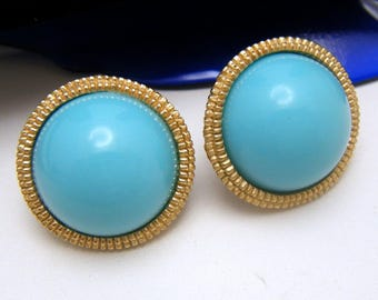 Crown Trifari Earrings Turquoise Lucite Gold Tone Button Clips 1960s Vintage