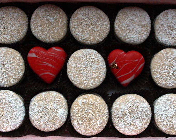 Featured listing image: 15 Traditional & Heart Chocolate Alfajores