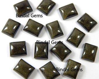 10 Pcs Natural Gold Sheen Obsidian Octagon Shape Smooth Calibrated Cabochon Loose Gemstone