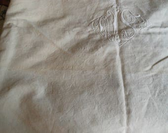 Antique Vintage French Linen Sheet Monogramed #1