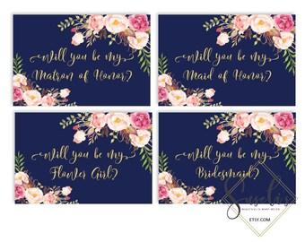 Will You Be My Bridesmaid Printable set, Navy Blue Gold Text DIY Wedding cards, Bridal Proposal, Watercolor flowers Boho, DIGITAL FILES WS23