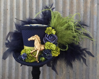 Kentucky Derby Hat, Derby Fascinator, Navy Blue and Green Roses, Horse Hat, Alice in Wonderland, Tea Party hat, Mad Hatter hat, Royal Ascot