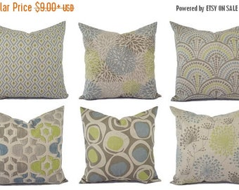 15% OFF SALE Decorative Pillow Green Blue and Beige - Decorative Pillow - Brown Blue Taupe Pillow - Accent Pillow Covers - Green Pillows - B
