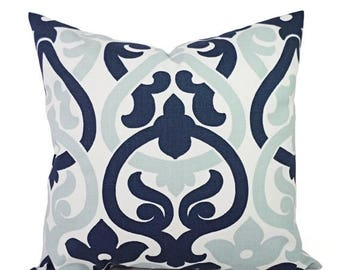 15% OFF SALE Decorative Pillows - Two Navy Trellis Pillow Covers - Trellis Pillow Cover  - Alex Pillow - Navy Pillows - Navy and Blue Pillow