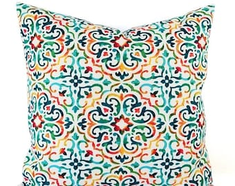 15% OFF SALE Two OUTDOOR Pillow Covers   Teal Pillow Cover   Bright Pillow  Cover